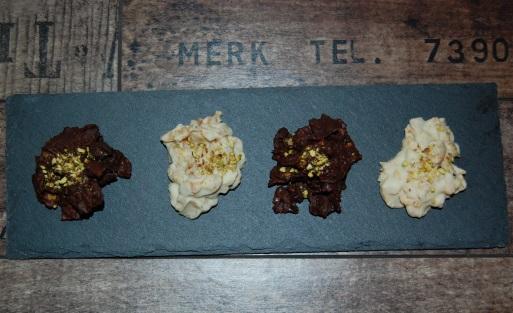 rocas chocolate y pistacho